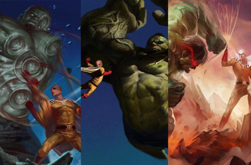 Saitama vs The Hulk Art Collection